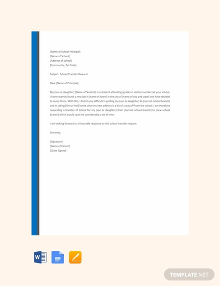 FREE Elementary School Transfer Request Letter Template: Download