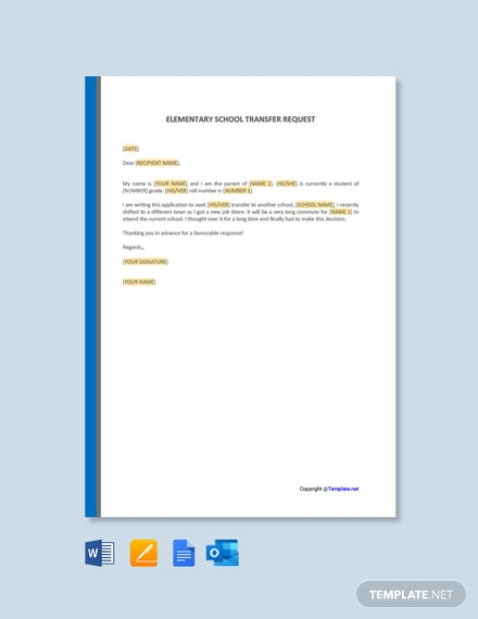 Free Elementary School Transfer Request Letter Template