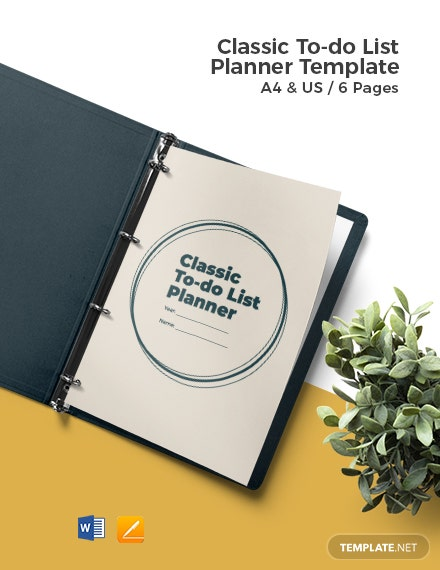 Classic To Do List Planner Template