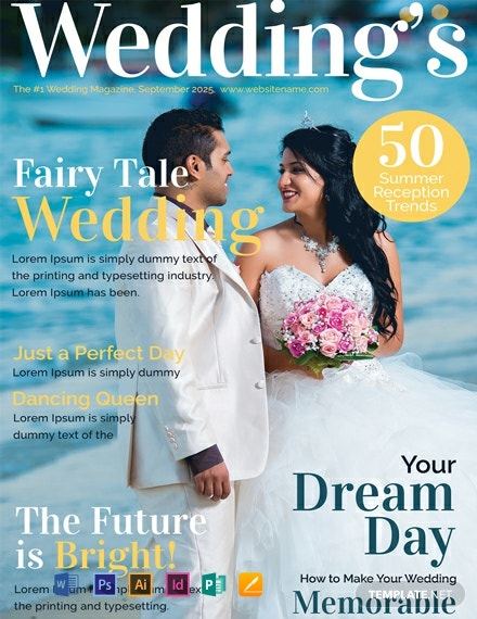 free wedding magazine cover template  download 54