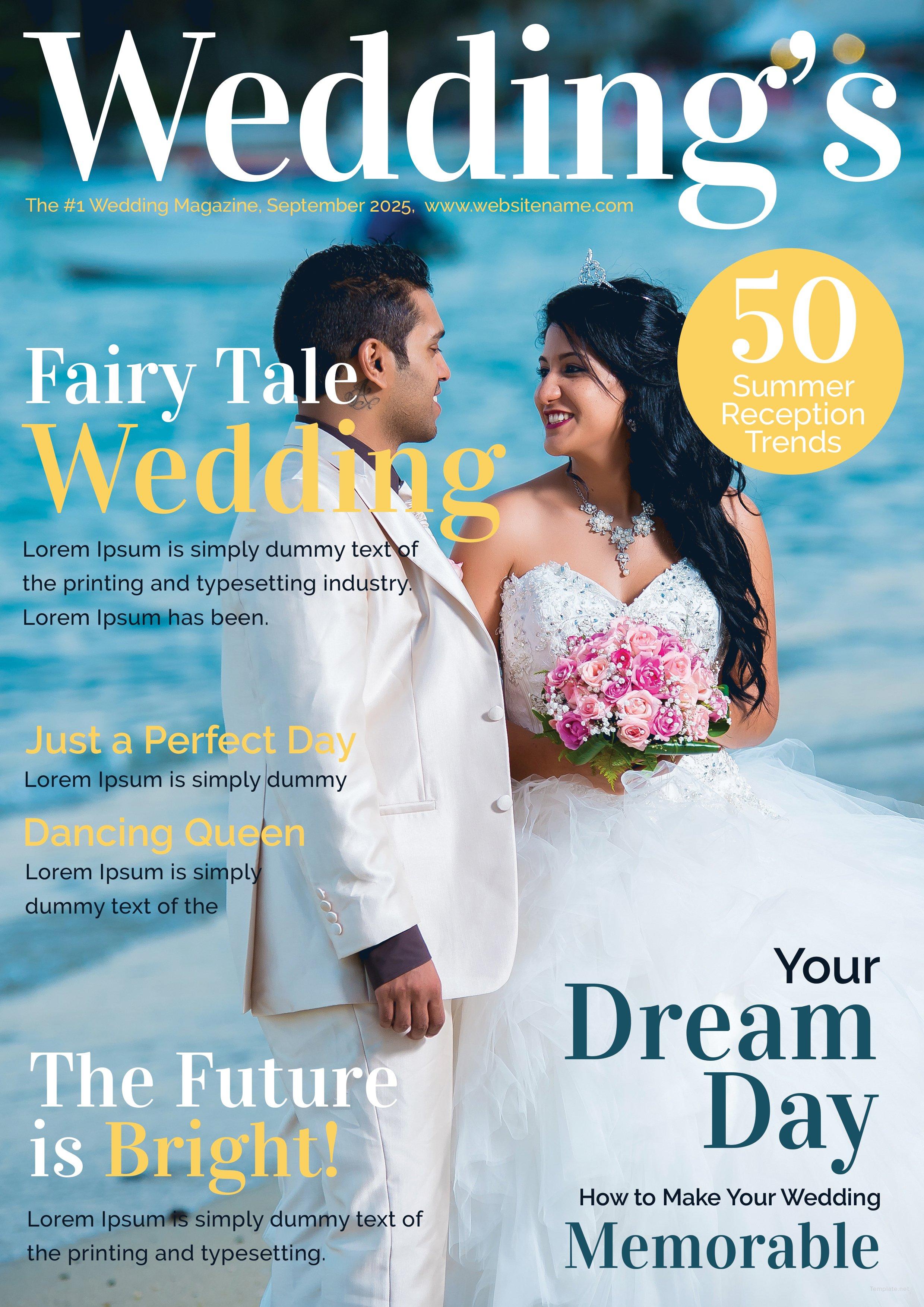 wedding magazine cover template in adobe illustrator