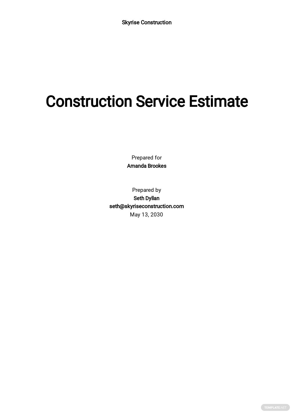 Blank Construction Cost Estimate Template