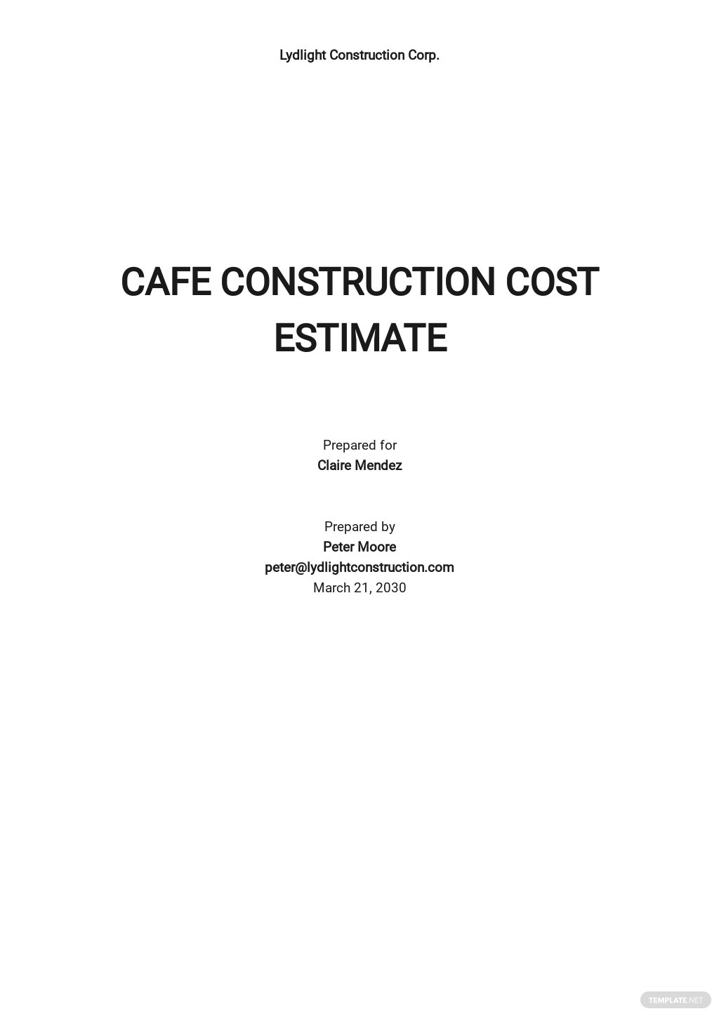 Printable Construction Cost Estimate Template