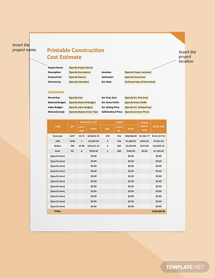 Printable Construction Cost Estimate Format