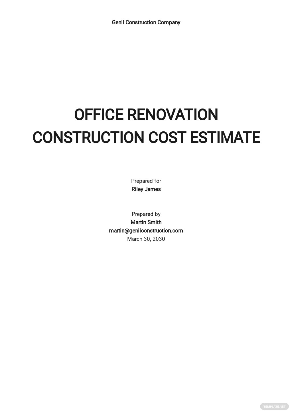 Simple Construction Cost Estimate Template [Free PDF] - Google Docs, Google Sheets, Excel, Word, Apple Numbers, Apple Pages