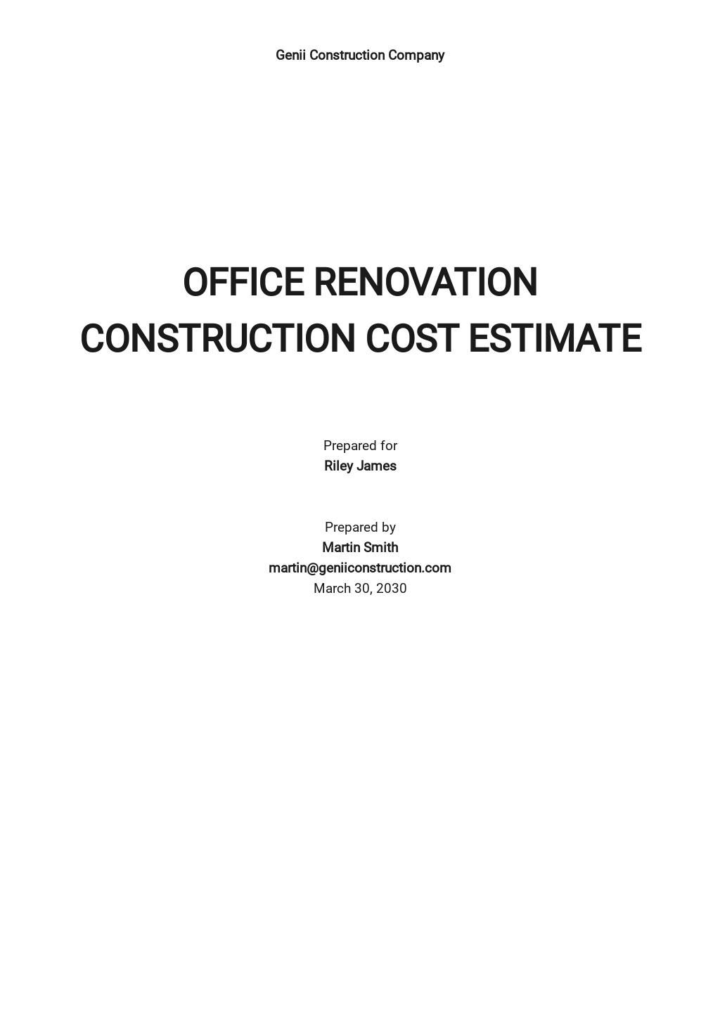 Simple Construction Cost Estimate Template