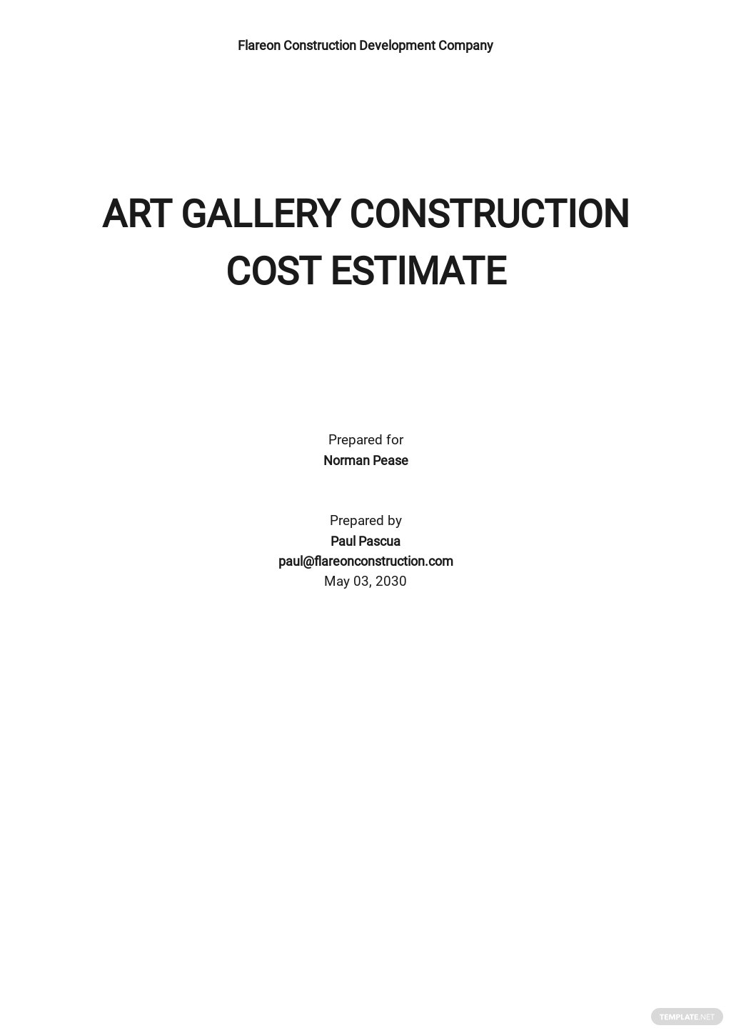 Basic Construction Cost Estimate Template