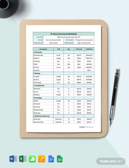 Free Editable Construction Cost Estimate Template