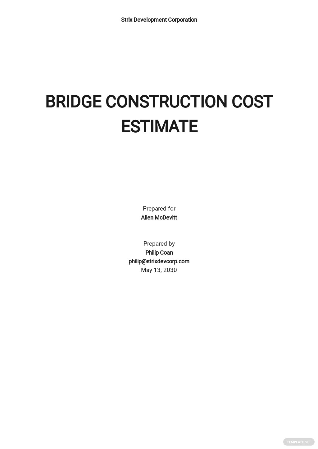 Editable Construction Cost Estimate Template
