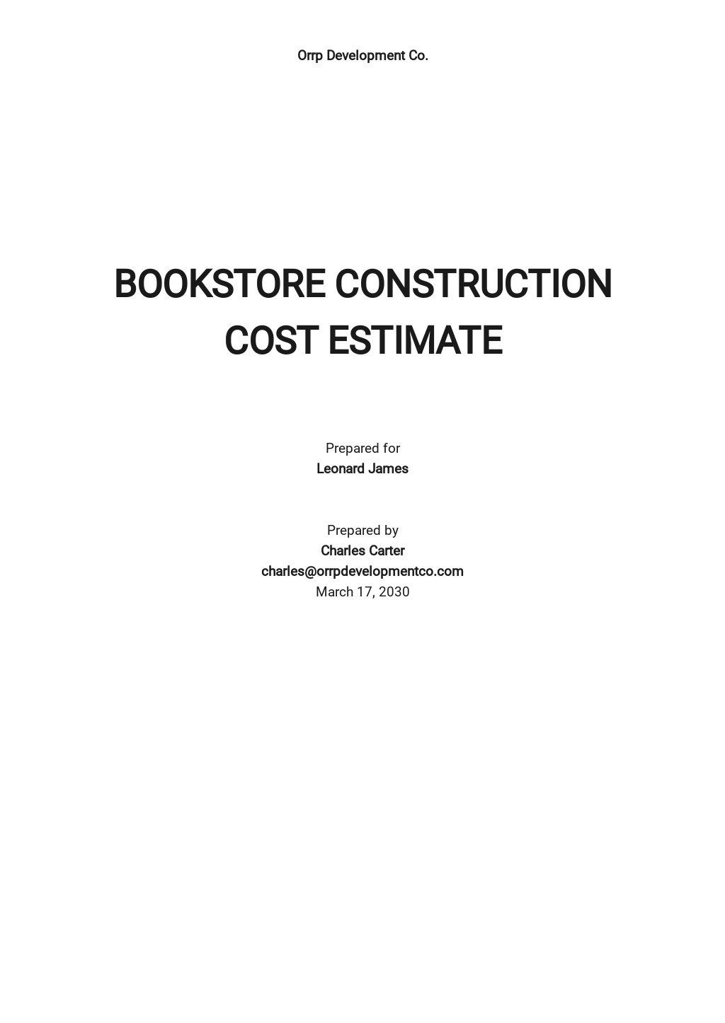 Sample Construction Cost Estimate Template