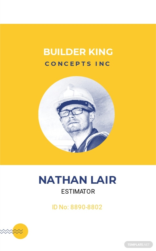Editable Construction ID Card Template