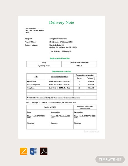 Free Sample Delivery Note Template