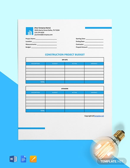 Free Blank Construction Project Budget Template