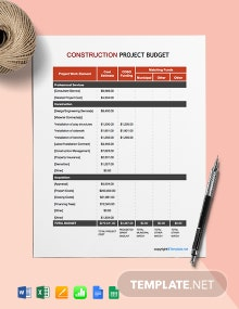 Free Printable Construction Project Budget Template