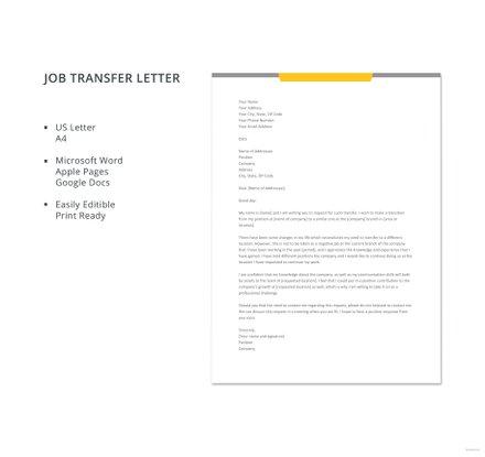Free Job Transfer Letter Template