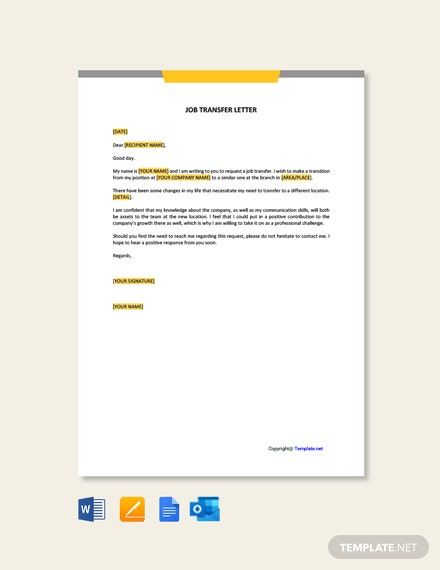 Free Job Transfer Letter Template