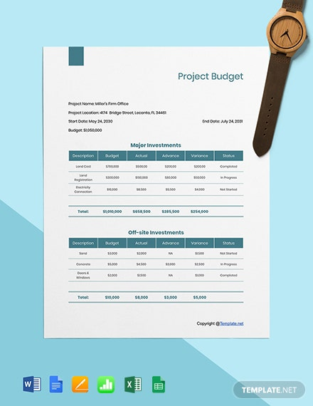 Editable Construction Project Budget Template