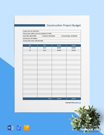 Free Basic Construction Project Budget Template