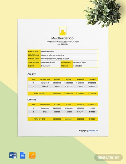 Simple Construction Project Budget Template
