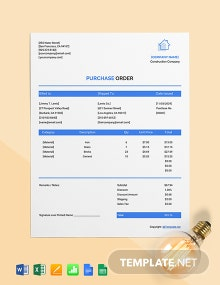 Free Blank Construction Purchase Template
