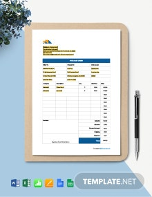 Free Printable Construction Purchase Template