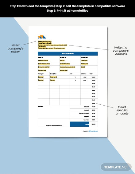 Printable Construction Purchase example