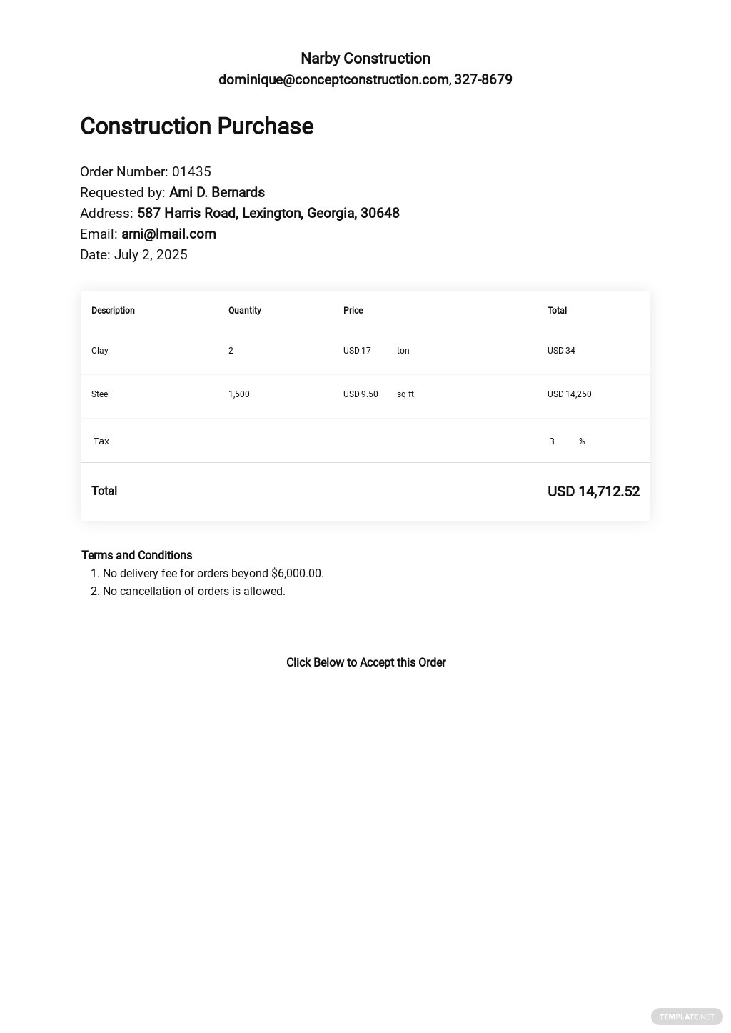 Editable Construction Purchase Template