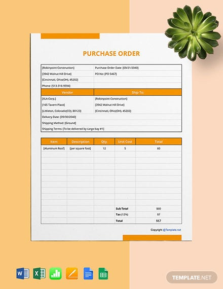 Free Basic Construction Purchase Template