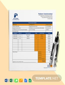 Free Simple Construction Purchase Template