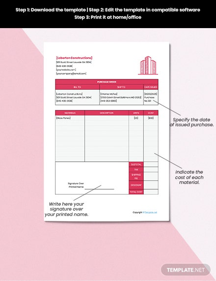 Sample Construction Purchase Templates
