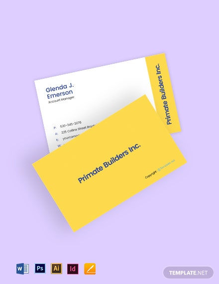 Free Editable Construction Business Card Template