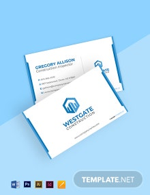 Free Simple Construction Business Card Template