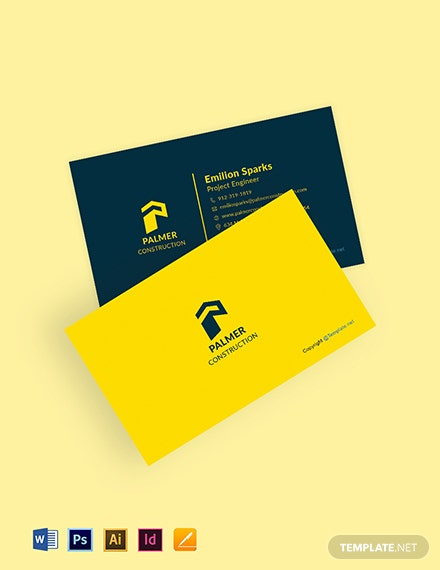 Free Sample Construction Business Card Template