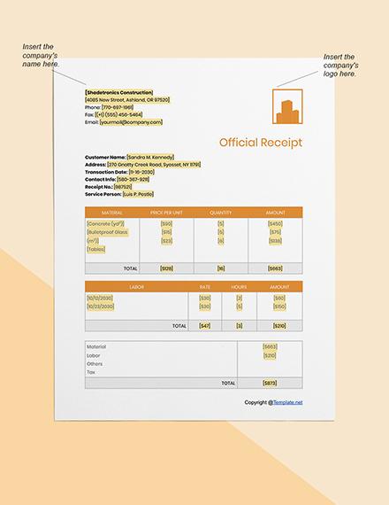 Basic Construction Receipt Format