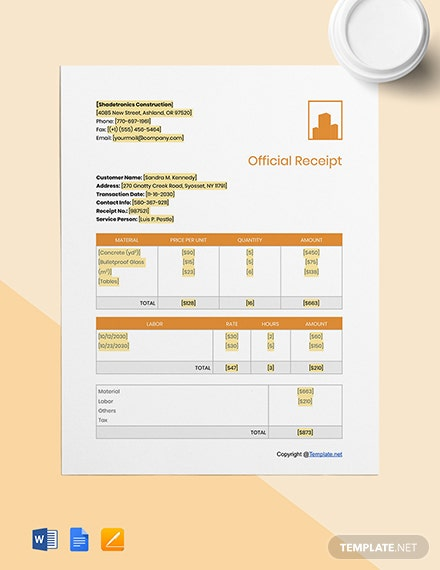 Basic Construction Receipt Template