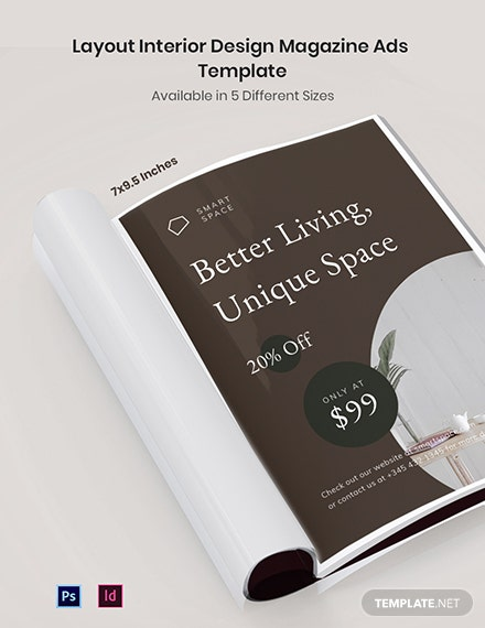 Free Layout Interior Design Magazine Ads Template