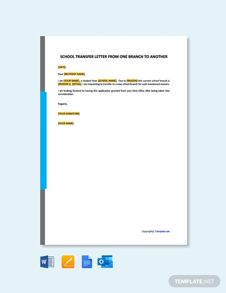 Free School Transfer Letter from One Branch to Another Template