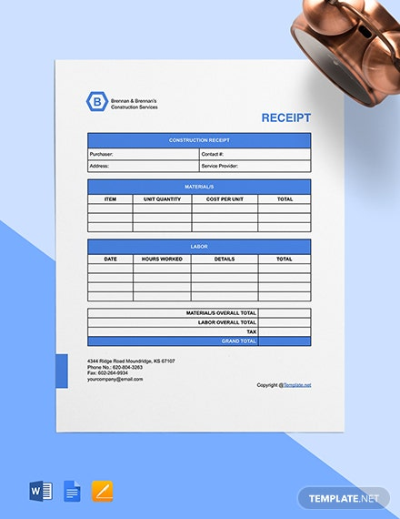 Free Simple Construction Receipt Template