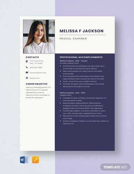 Medical Examiner Resume Template