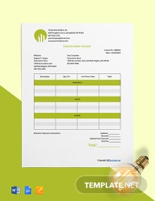Free Blank Construction Invoice Template
