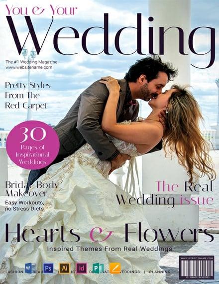 free modern wedding magazine cover template