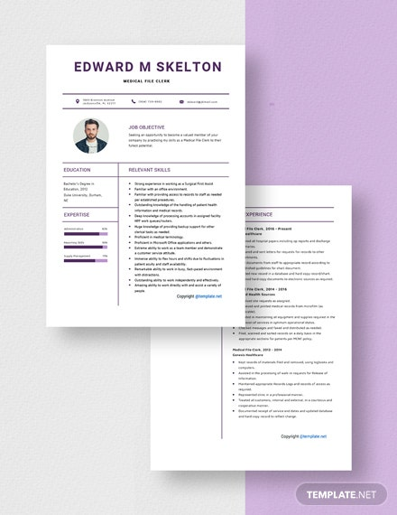 Free Medical File Clerk Resume Template Word Pages Template Net