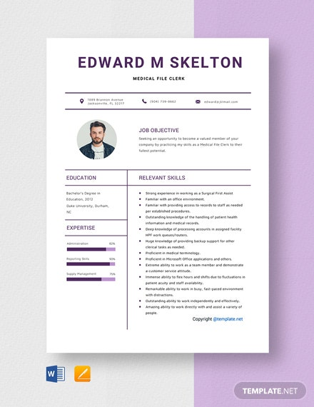 Free Medical File Clerk Resume Template