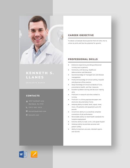 Graduate Nurse Resume Template