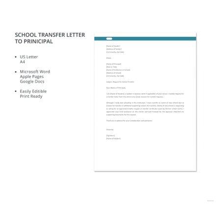 School Transfer Letter to Principal