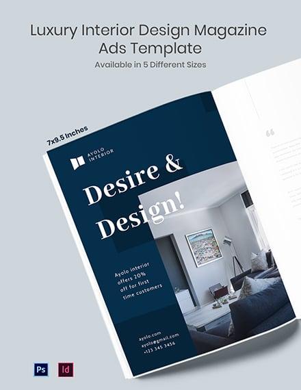 Free Luxury Interior Design Magazine Ads Template