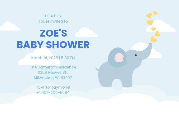 Baby Boy Shower Postcard Invitation Template