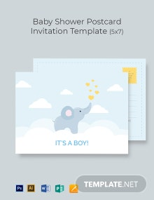 Baby Boy Shower Postcard Invitation Template