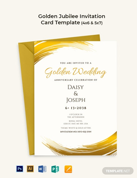 Golden Jubilee Celebration Invitation Card Template Psd