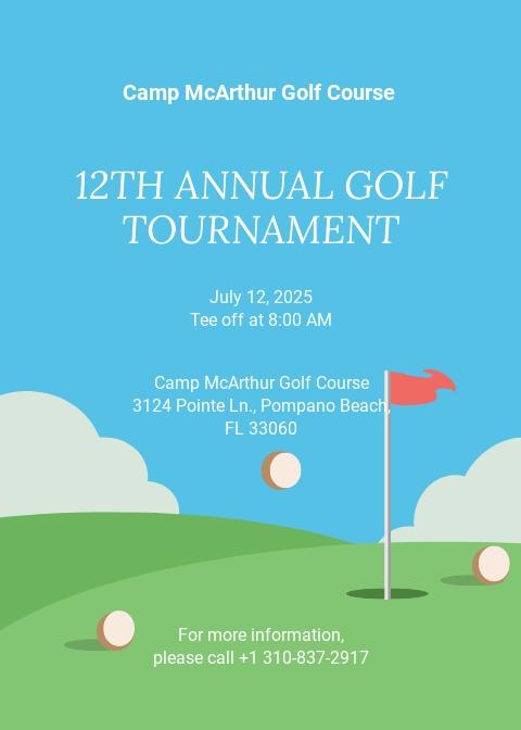 Annual Golf Tournament Invitation Template